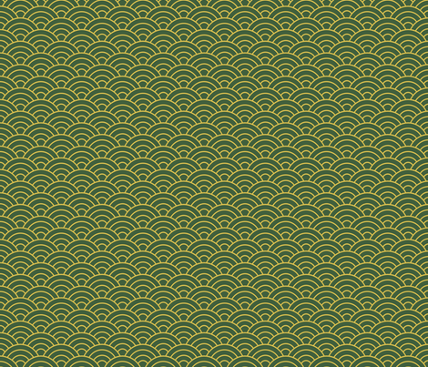 Japanese-Style Ripple - Gold on Green fabric by ameliae on Spoonflower - custom fabric