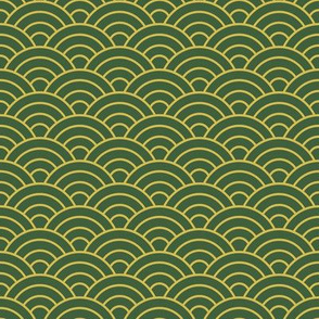 Japanese-Style Ripple - Gold on Green