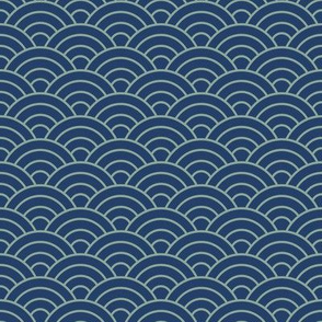 Japanese-Style Ripple - Light on Dark Blue