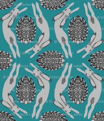 tortoise and hare - teal