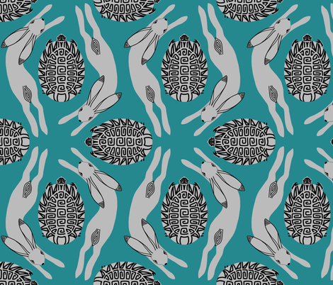 tortoise and hare - teal  fabric by victorialasher on Spoonflower - custom fabric