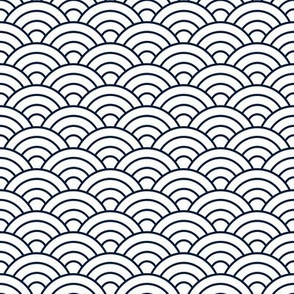 Japanese-Style Ripple - Navy on White