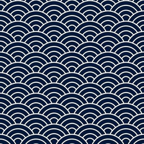 Japanese-Style Ripple - White on Navy