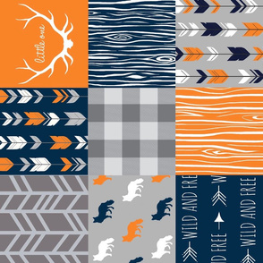 Little One Fox - Navy orange and grey - ROTATED