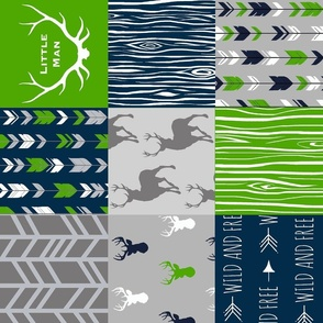 "6"" Patchwork Deer - Navy and Seahawks green  - R"