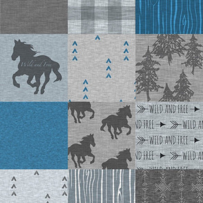 Wild Horses Patchwork- Denim And Grey