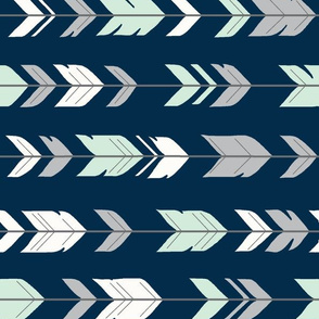 Arrow Feathers - Mint green, grey, white on navy - rotated