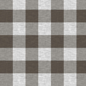Textured Buffalo plaid- dark brown and grey