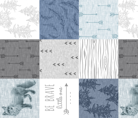 Be Brave Fox Quilt - blues and greys - ROTATED fabric by sugarpinedesign on Spoonflower - custom fabric
