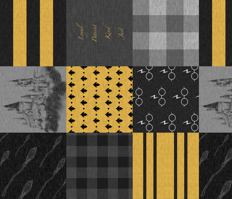 Loyal Patient Kind Just - ROTATED - yellow and black wizard quilt fabric by sugarpinedesign on Spoonflower - custom fabric