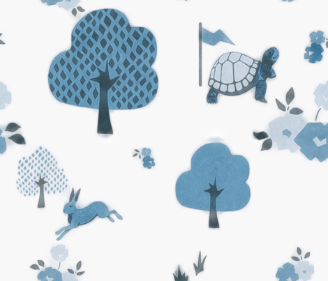 denim hare and tortoise fabric by dessineo on Spoonflower - custom fabric