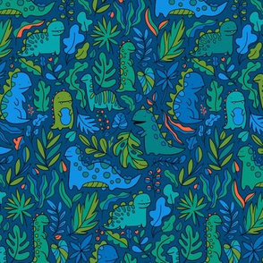 Tropical leaves and ancient dinosaurs design. Cute dino pattern. navy green SMALL