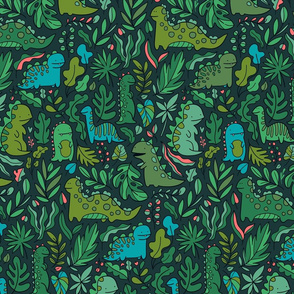 Tropical leaves and ancient dinosaurs design. Cute green dino pattern.