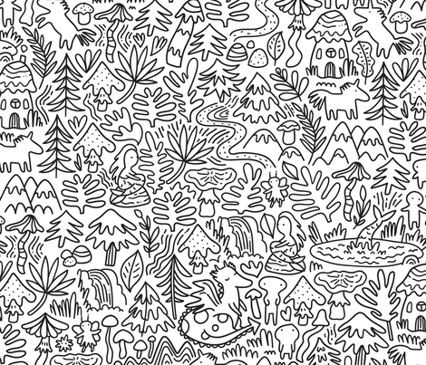 Unicorns, dragons, mermaids doodle design. Dreamy fabric. Fabled pattern. BIG fabric by kostolom3000 on Spoonflower - custom fabric