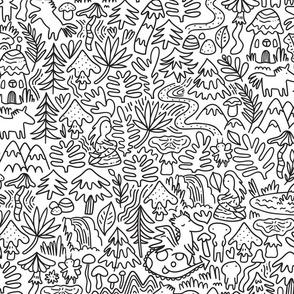 Unicorns, dragons, mermaids doodle design. Dreamy fabric. Fabled pattern. BIG