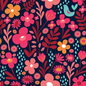 Forest Flowers Navy
