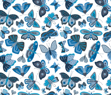 Blue Butterflies fabric by suzytaylordesigns on Spoonflower - custom fabric