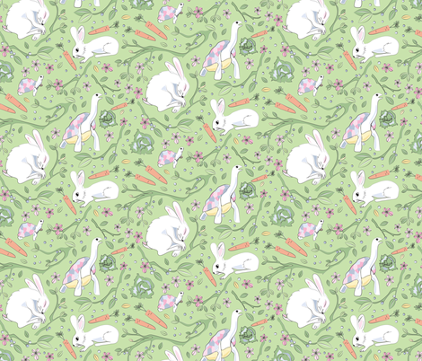 What Race? Hare and Tortoise green fabric by colour_angel_by_kv on Spoonflower - custom fabric
