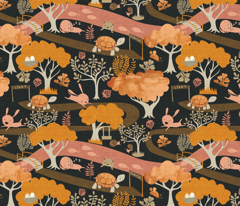 The Tortoise and the Hare fabric by ceciliamok on Spoonflower - custom fabric