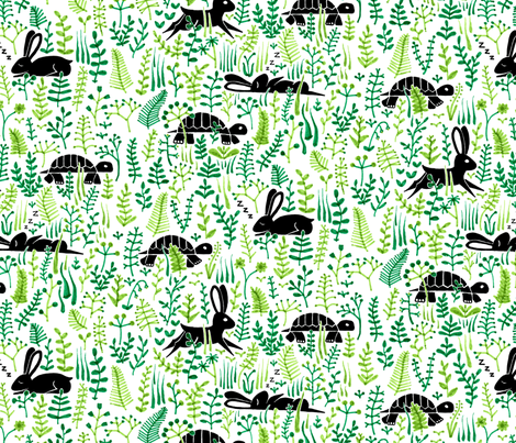 through the meadow, hare and tortoise (white) fabric by analinea on Spoonflower - custom fabric