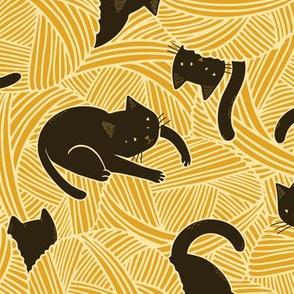 Cats on balls (Mustard)