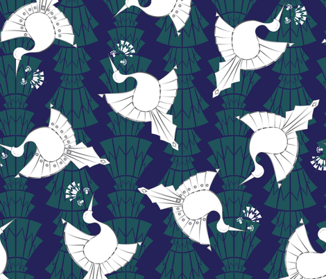 Art Deco Birds Design Larger fabric by agnieszka_rycombel on Spoonflower - custom fabric