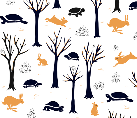Turtles or tortoises? Hares or rabbits? fabric by agathests on Spoonflower - custom fabric