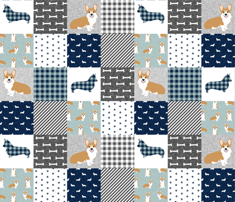 corgi cheater quilt b dog breed corgis fabric  fabric by petfriendly on Spoonflower - custom fabric
