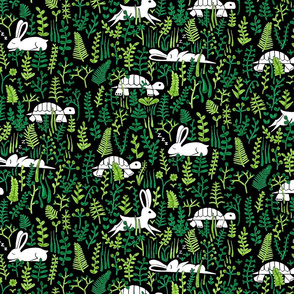 through the meadow, hare and tortoise (black)