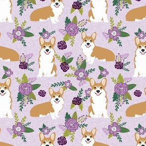 corgi c quilting coordinates dog breed florals fabric  2