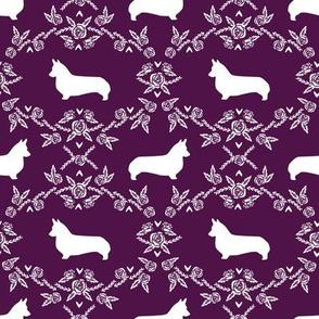 corgi c quilting coordinates dog breed silhouette florals fabric
