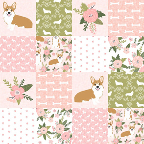 corgi d cheater quilt quilting coordinates dog breed florals fabric