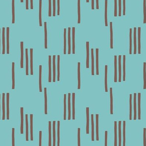 Basic stripes and strokes monochrome circus theme blue and bark brown SMALL
