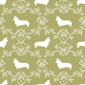 corgi d floral silhouette dog breed corgis quilting coordinates