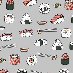 sushi // japanese food cute kawaii fabric international cuisine grey