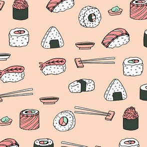 sushi // japanese food cute kawaii fabric international cuisine pink