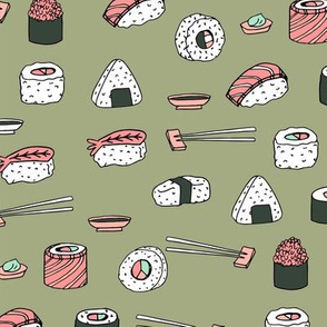 sushi // japanese food cute kawaii fabric international cuisine green