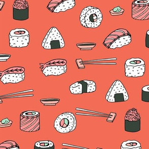 sushi // japanese food cute kawaii fabric international cuisine orange