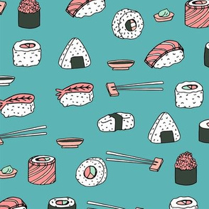 sushi // japanese food cute kawaii fabric international cuisine blue