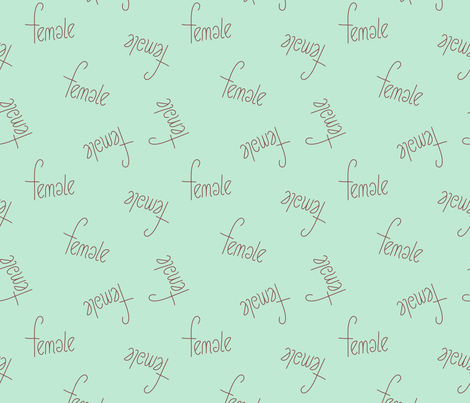 The future is female girls typography love text print in mint fabric by littlesmilemakers on Spoonflower - custom fabric