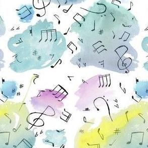 Watercolor Music Doodles