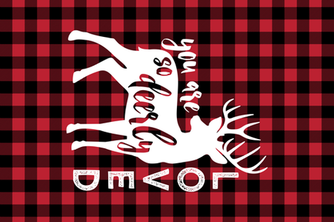 MINKY fat quarter - so deerly loved - buffalo check fabric by littlearrowdesign on Spoonflower - custom fabric