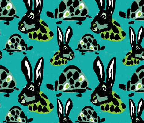 Modern Tortoise and Hare fabric by statement_goods on Spoonflower - custom fabric