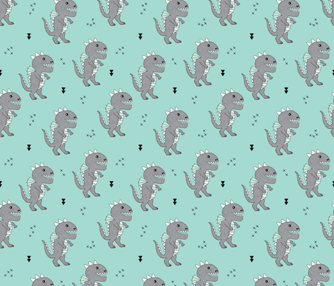 Cute little monster dinosaur dragon baby boys blue fabric for Baby monster fabric