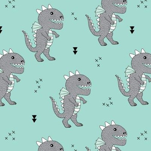 Cute little monster dinosaur dragon baby boys blue