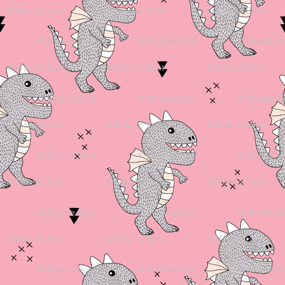 Cute little monster dinosaur dragon baby girls pink fabric for Baby monster fabric