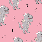 Cute little monster dinosaur dragon baby girls pink