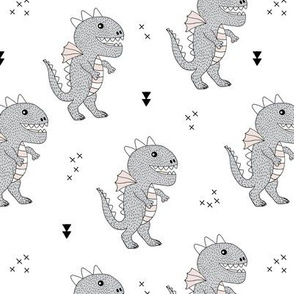 Cute little monster dinosaur dragon baby gender neutral beige