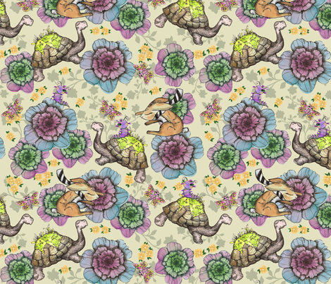 TORTOISE AND HARE pattern fabric by suzyspellbound on Spoonflower - custom fabric