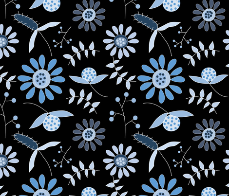 Blue Flowers fabric by cathleenbronsky on Spoonflower - custom fabric